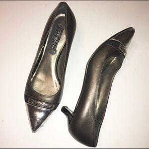 BRIGHTON bronze & silver Flirt heels